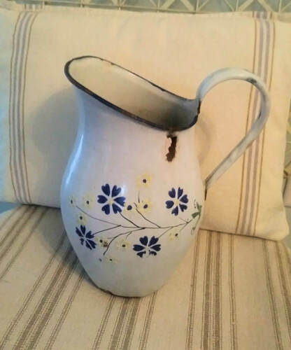 Antique French Enamelware Pitcher Hand painted