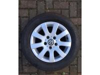 Volkswagen VW golf 9 spoke alloy wheel with continental tyre mk5 mk6