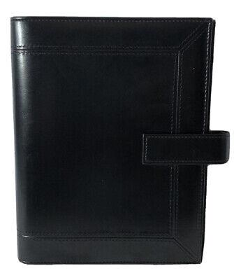 Day-timer Black Leather 7-ring Binder Planner Organizer 9.25x7.25 Euc