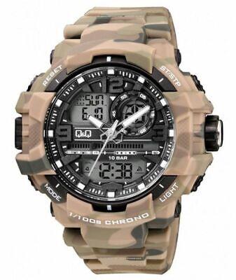 CITIZEN Q&Q CAMO $120 WORLDS BEST ANA-DIGI CHRONO 5 ALARM DUAL TIME ARMY (Best Dual Time Watches)