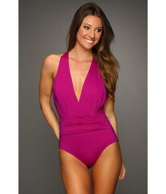 Badgley Mischka Draped Shirred Dip Back Maillot Purple One-Piece Swimsuit Size 4 ()