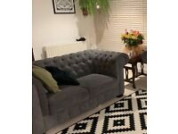Sofa: Grey Fabric Chesterfield 2 seater
