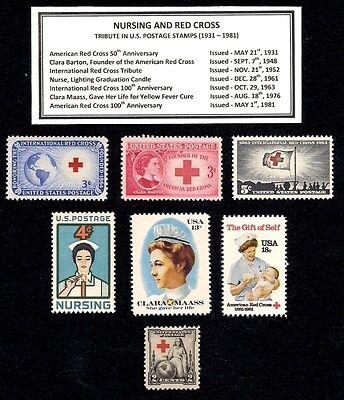 1931 - 1981 NURSING and RED CROSS  Complete Vintage Mint U.S. Stamp Set