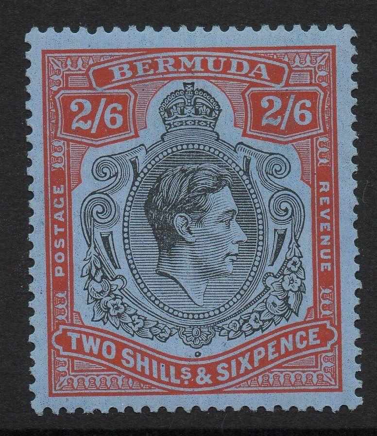 BERMUDA SG117 1938 2/6 BLACK & RED/GREY-BLUE MTD MINT