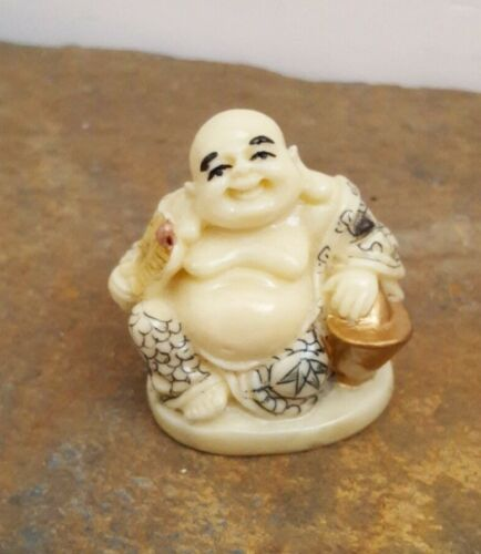 Happy Buddha with Fan & Pot of Gold Japanese Netsuke Resin Figurine Not Ivory