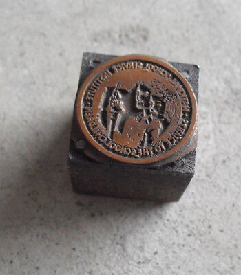 Vintage National School Service Inst Wood Metal Letterpress Print Block Stamp
