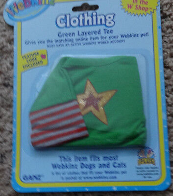 NIP WEBKINZ CLOTHING-GREEN LAYERED TEE-NEW-FITS MOST CATS AND DOGS