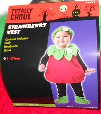 Infants Toddlers Halloween Costume Strawberry Girls 12 - 24 Months 1 - 2 yrs New