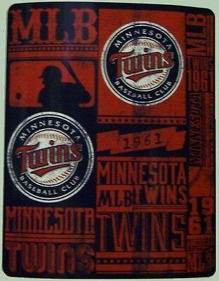 "Blanket Fleece Throw MLB Minnesota Twins NEW 50""x60"" with protective sleeve"