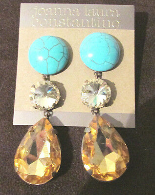 Joanna Laura Constantine Drop Earrings Pierced Multi Colored Stones Turquoise