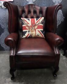 Stunning Chesterfield Queen Anne Wing Back Chair Oxblood Leather - UK Delivery