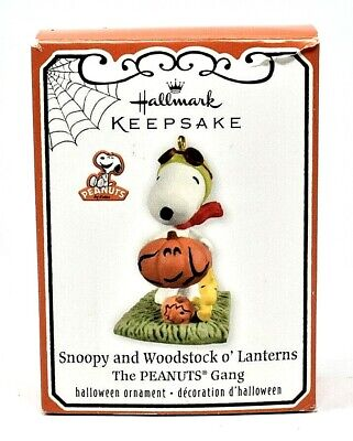 RARE NEW 2011 HALLMARK SNOOPY AND WOODSTOCK O'LANTERNS HALLOWEEN ORNAMENT COOL