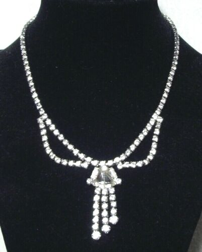 Vintage Clear Rhinestone CHOKER NECKLACE Chandelier Style Silver tone VERY NICE