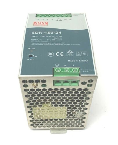 MEAN WELL SDR-480-24 POWER SUPPLY, 100-240VAC 5A, 24VDC 20A