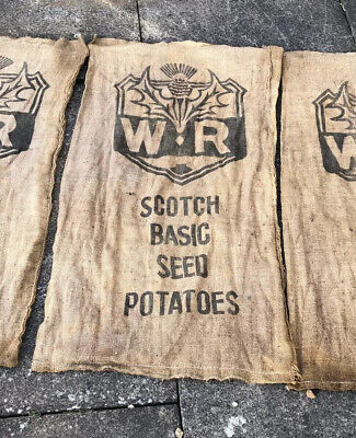 Old Vintage W R Scotch Seed Thistle Potatoes Hessian Sack Advertising