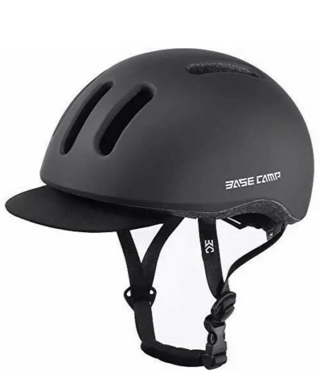 BASE CAMP Adult Bike Helmet with Removable Visor one-size-fits-most, Black