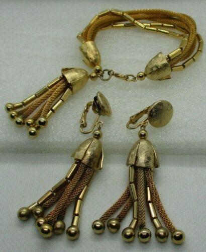 Vintage Mesh Tassel Bracelet & Clip on Earrings SET