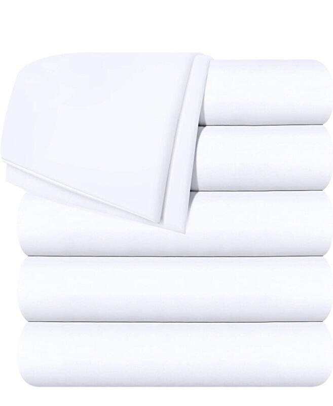 T-180 Queen Flat Top Sheet XL Elite White 90″ x 115″ Lot Of 6 NEW