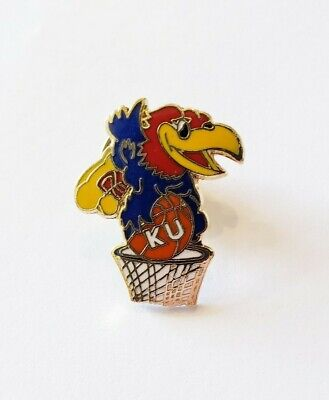 NCAA Big 12 Kansas University KU Jayhawk Basketball Dunk Rock Chalk Lapel Pin