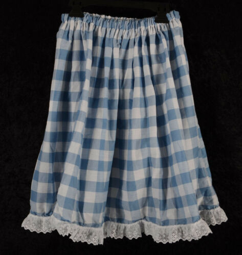 Womens Girls Dance Costume Lace Trim Skirt Country Girl Blue Gingham Check S M L
