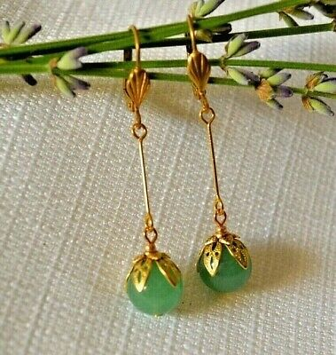 - Genuine Lt Green Jade Earrings Long Dangles Fancy Filigree Brass Caps Leverback
