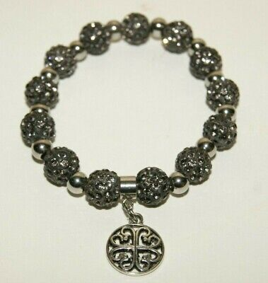 New Rustic Stainless Steel Kaleidoscope Style Charcoal Grey Bracelet Cuff