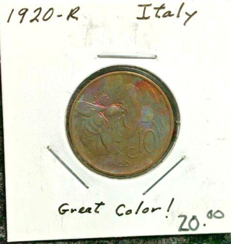 1920-R 10 Centisimi Italy Rainbow Toned Honey Bee Coin