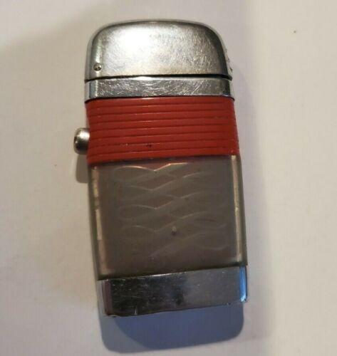 Vtg VU Lighter Scripto Chrome Swirl RED Band