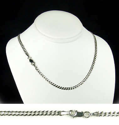 14k White Gold Curb Cuban Chain Necklace 3.8mm 20