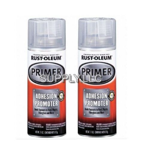 AUTO PRIMER for Plastics, Vinyl, Fiberglass (2 - 11oz Spray Cans) Clear Fast Dry