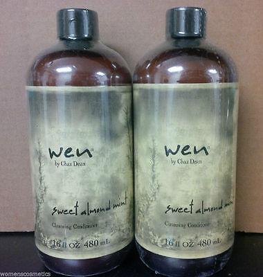 2 Bottles Wen Sweet Almond Mint Cleansing Conditioner W/Pump  (2 x 16 oz)