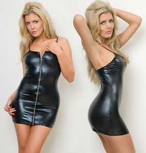 Black-Zip-Clubwear-PVC-wet-look-Mini-dress-one-size-fits-8-10-12