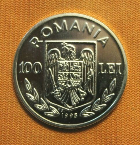 1995 Romania 100 Lei Large Silver World Coin! High Grade! Beautiful