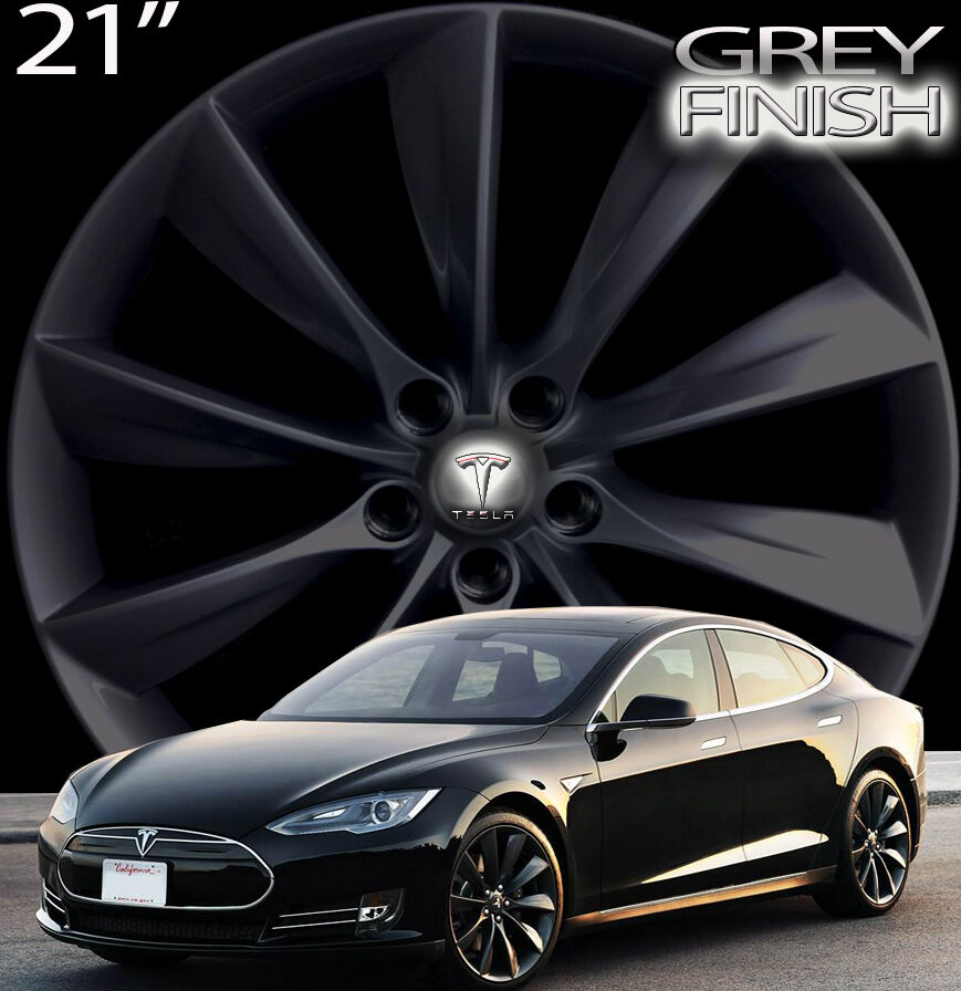 "21"" Tesla Model s Factory Wheels Rims Silver or Grey Also Fit Jaguar 5 x 108"