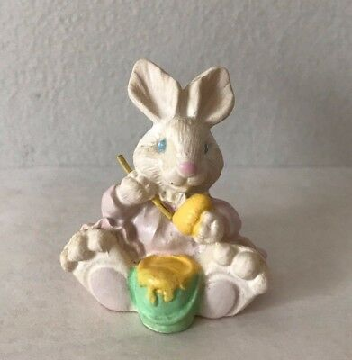 Used, Vintage Miniature Easter Bunny - Figurine Painting Easter Eggs in her Pink Dress for sale  Kingston