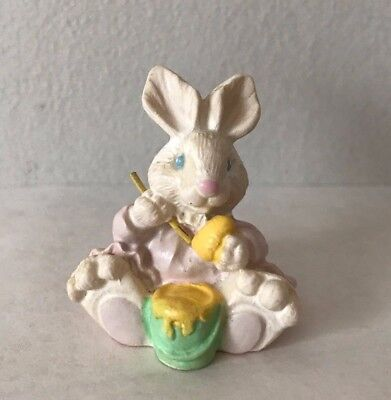 Vintage Miniature Easter Bunny - Figurine Painting Easter Eggs in her Pink Dress for sale  Kingston