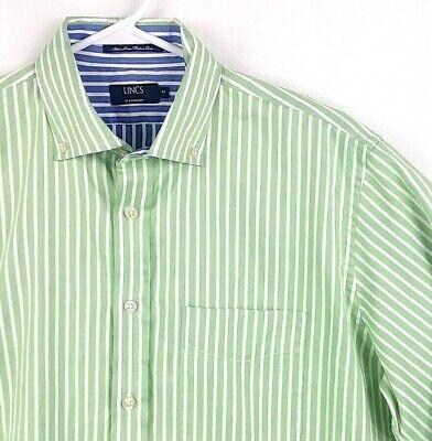 Dc Mens Dress (LINCS DC & CO Mens Sz M Green White Stripe Button Down Casual Dress Shirt)