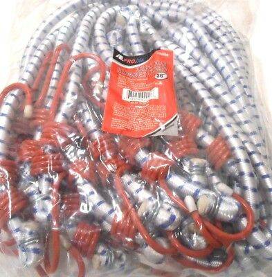 12 Pc. Set 36 Inch 3 Ft. Heavy Duty Bungee Cord Red Tip Tie Down Strap