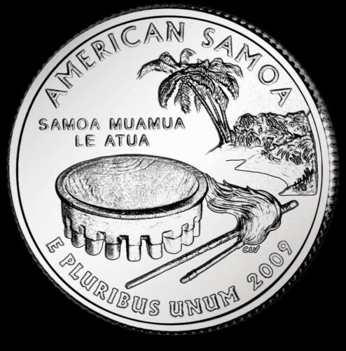 "2009 D American Samoa Territorial Quarter New U.S. ""Brilliant Uncirculated"" Coin"