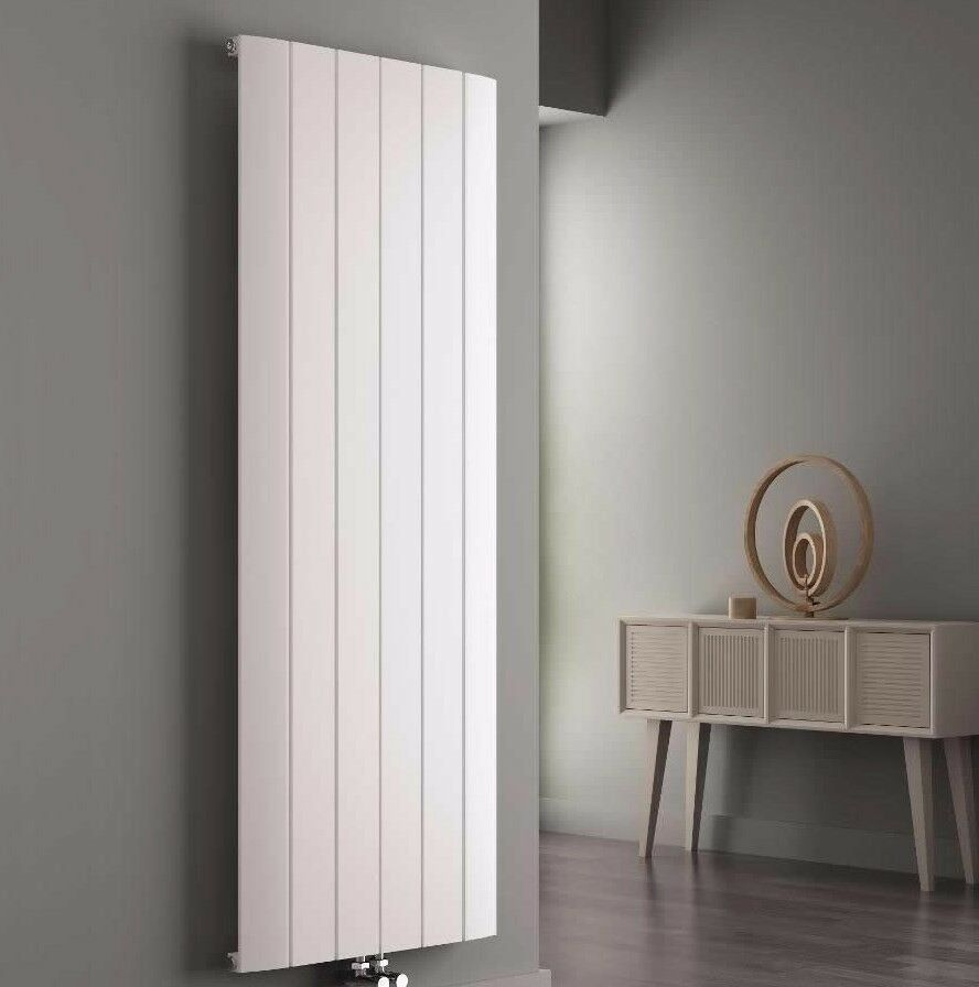 WHITE VERTICAL SINGLE FLAT PANEL ALUMINIUM RADIATOR 1800 X 565 MM