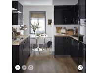 New/unused B&Q gloss black kitchen - various units, doors, sink, worktops and tiles