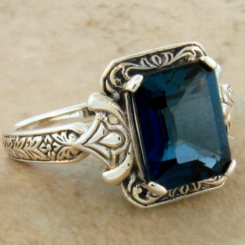 4 CT. GENUINE LONDON BLUE TOPAZ ANTIQUE DESIGN .925 STERLING SILVER RING,   #278