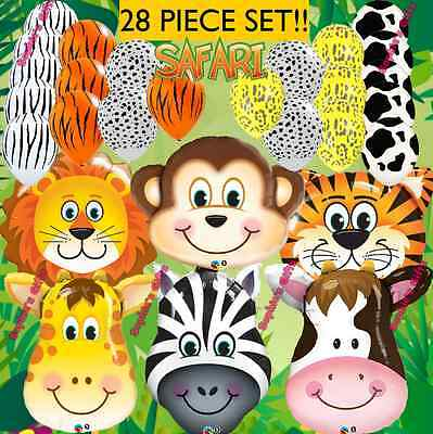 28PC Safari Jungle Farm Animal Lion Cow Zebra party BalloonS decoration - Jungle Safari Balloons