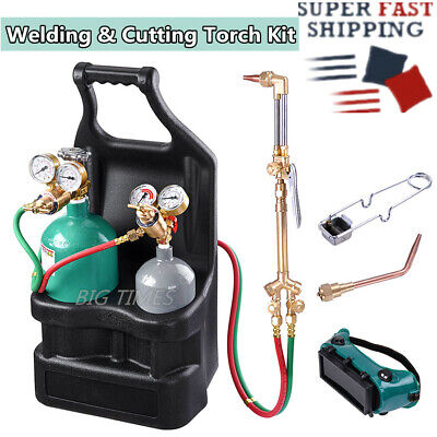 Pro Welding Brazing Cutting Outfit Torch Tool Kit With Acetylene Oxygen Tanks