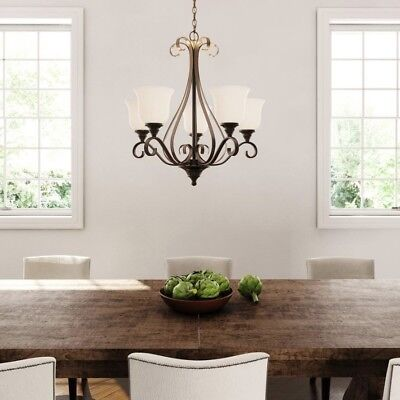 Rustic Chandelier Lighting Farmhouse Vintage Lamp Oil-Rubbed Bronze Glass Shades