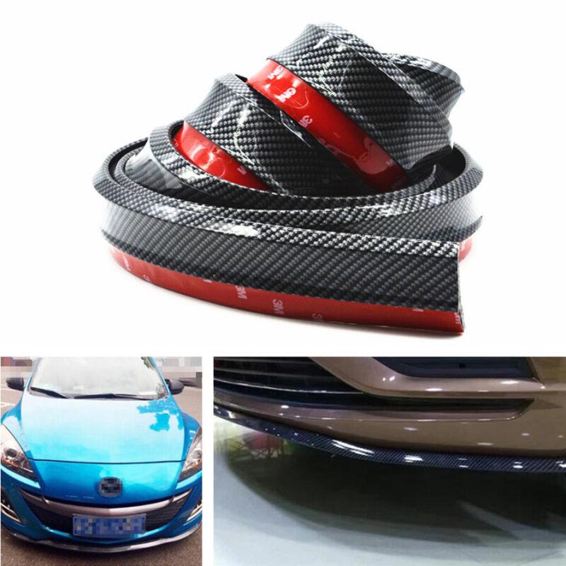 Car Front Bumper Lip Spoiler Protector Rubber Splitter Guard Skirt Carbon Fiber