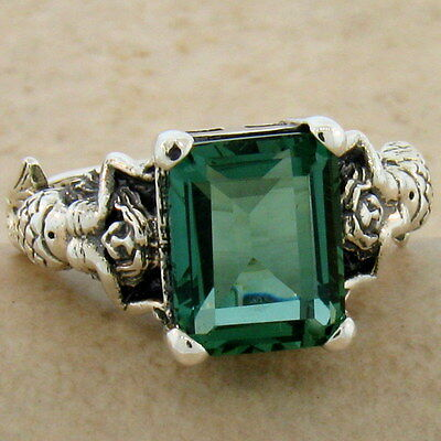 MERMAID RING VICTORIAN 925 STERLING SILVER GREEN LAB AMETHYST SIZE 10,      #828