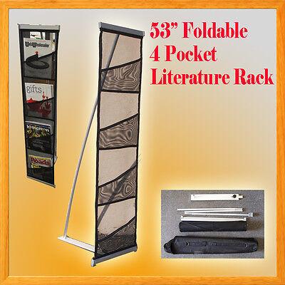 4 Pocket Literature Magazine Catalog Brochure Rack Stand Portable Trade Show