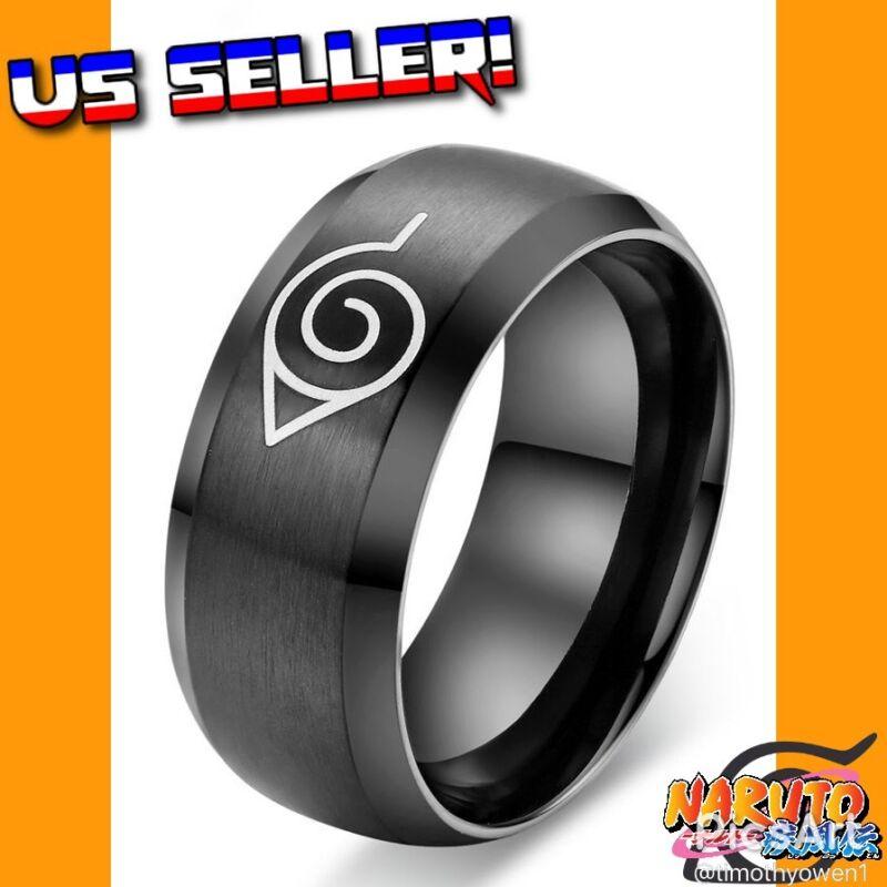 Naruto Shippuden Hidden Leaf Village Logo Black Metal Ring Sasuke Itachi Uchiha