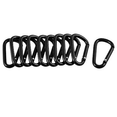 10 Pcs Black D Shaped Aluminum Alloy Carabiner Hook Keychain N3